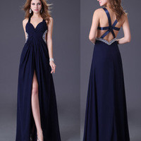 Exquisite Sexy V-neck Chiffon Wedding Gown Prom Ball Formal Evening Party Dress