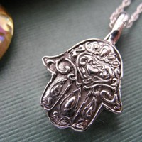 Hamsa Hand Necklace in Sterling Silver