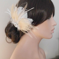 Ivory Bridal Head Piece Champagne Peacock Feather Fascinator Vintage Wedding Hair Piece Rhinestone