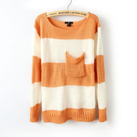 Orange White Striped Long Sleeve Pullover Sweater