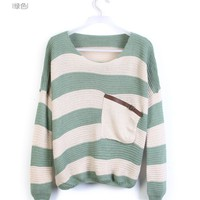 Green White Striped Pocket Bat Long Sleeve Sweater