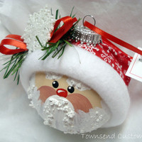Santa Ornament ChristmasTree Bulb Hand by TownsendCustomGifts