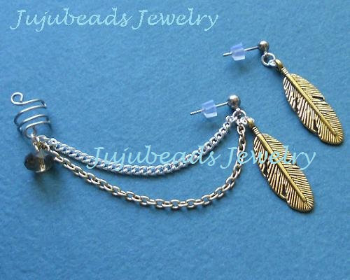 Gold and Silver feather wire wrap ear cuff by jujubee4 on Etsy