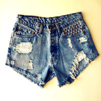 Ralph Lauren, Highwaisted Distressed Studded Denim Shorts