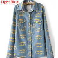 *Free Shipping* Light Blue Denim Blouse Shirt TBHTK905lg from clothingloves