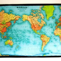 VINTAGE WORLD MAP huge wall hanging organic by mybeardedpigeon