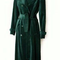 1970's Emerald Green Velvet Spy Trench Coat - M :