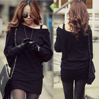 New Korean Solid Black Mini Sweater Dress Long Tops Sexy Boat Neck