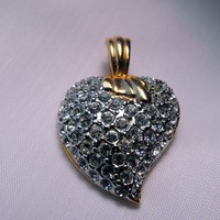Diamante Puffy Heart Shaped Necklace Enhancer from giltygirlvintage on Ruby Plaza
