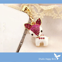Pink Crystal Deer Earphone Hanging Charm Anti Dust Plug for iPhone 5 & Samsung Galaxy S3 Headphone 3.5mm Jack 1PC