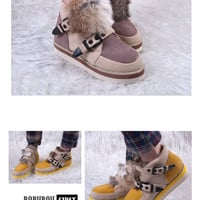 Fashionable and Warm-Keeping Style Fur Trimming and Buckle Embellished Ankle Boots For Women China Wholesale - Sammydress.com