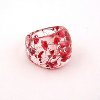 Red Resin Ring Pressed Flower Resin Ring by SpottedDogAsheville