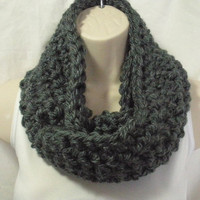 Dark Grey Cowl Infinity Circle Scarf Neckwarmer