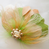 Bridesmaid Feather Hair Accessory, Feather Fascinator, Bridal, Hair PIece, Peacock, Chartreuse,Green, Peach, Apricot, Feather, Hair Clip