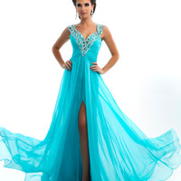 Mac Duggal Prom 2013 - Aqua Chiffon Dress With Sequin Embellishment - Unique Vintage - Cocktail, Pinup, Holiday & Prom Dresses.