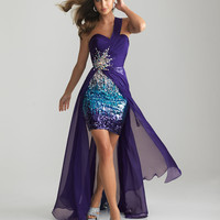 Purple Sequin & Ruched Chiffon Sweetheart One Shoulder Prom Dress - Unique Vintage - Cocktail, Pinup, Holiday & Prom Dresses.
