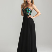Black Chiffon &amp; Sequin Sweetheart Empire Waist Prom Dress - Unique Vintage - Cocktail, Pinup, Holiday &amp; Prom Dresses.