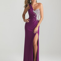 Purlple Embellished Jersey Sweetheart One Shoulder Prom Dress - Unique Vintage - Cocktail, Pinup, Holiday &amp; Prom Dresses.