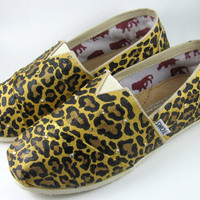 Exclusive Handpainted Toms: Leopard Cheetah print hand painted Toms Shoes. Mail in your pair or let Plooms take care of it