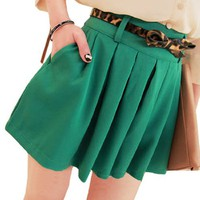 Allegra K Women Mid Rise Side Zipper Closure Chiffon Pleated Skirt Green XS