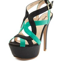 Strappy Color Block Platform Pump: Charlotte Russe