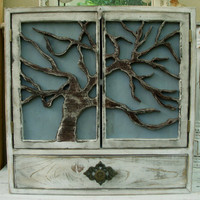 Wood Cabinet - Shelf - Tree Art - Oak Door - Artistic Furniture - Storage - Kitchen, Bath, Home Decor, Furniture