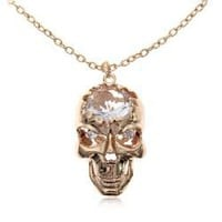 Elegant Rhinestone Inlaid Hollow-out Skull Pendant Necklace Chain Neck Ornament for Female -Golden