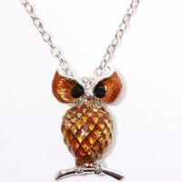 TX-1768N Fashionable Owl Shaped and Australian Crystal Inlaid Necklace Neck Chain Neck Ornament for Female (Brown with Silvery)