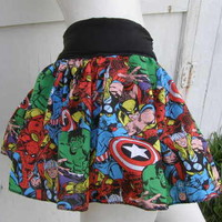 Captain America Thor Hulk retro Comic Book Skirt shirt S-1XL DiY Marvel Avengers from PoppysWickedGarden