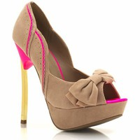 perforated-peep-toe-bow-pumps BLACK NUDE - GoJane.com