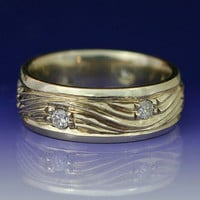 WATER AND ICE  Wave Wedding Band in 14k White Gold by BandScapes