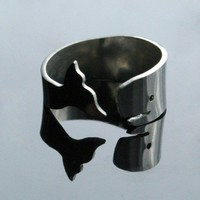 Whale of a Ring  sterling silver by bLuGrnDesign on Etsy