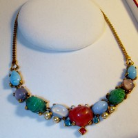 Molded Glass Necklace Mimicking Precious Stones Pearls from giltygirlvintage on Ruby Plaza
