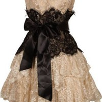 Strapless Bustier Contrast Lace and Crinoline Ruffle Prom Mini Dress Junior Plus Size:Amazon:Clothing