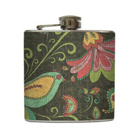 Flower Bird Collage Liquor Flask Paisley Swirls by LiquidCourage