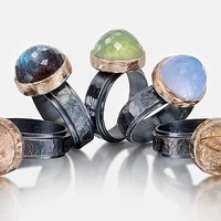 Botanical BezelSet Rings by Anna Whitmore: Silver  Stone Rings - Artful Home