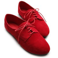 Ollio Womens Ballet Flat Loafers Faux Suede Oxford Lace Ups Red Shoes