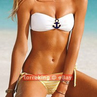 Sexy Women Metallic Rope Print Nautical Anchor Bandeau Bikini Swimwear Swimsuit
