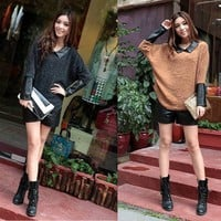 Korean Fashion T-SHIRT mix faux leather #1050 Lady Long Batwing Sleeve Tee Tops