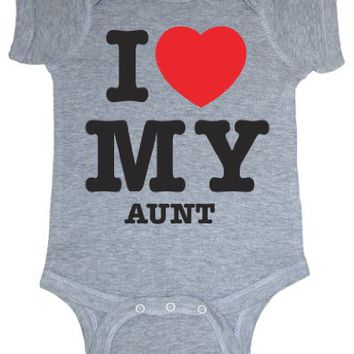 So Relative! I Love My Aunt (Red Heart) Heather Grey Baby Bodysuit (Heather Gray, 18 Months)