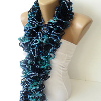 han knit ruffle scarf,knit women scarf-knitting scarf-multicolor-blue,navy blue,warm,long scarf,for her,valentines day
