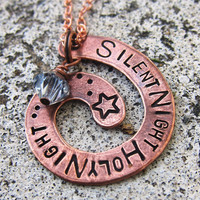 Silent Night  Hand Stamped Copper Necklace by DesignByAnyOtherName