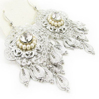 Fashion Elegant silver pleated alloy drop pearl crystal flower dangle Earrings
