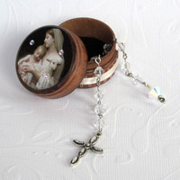 April Birthstone Rosary Set Pocket Rosary with Decorated Wood Box Clear Crystal Rosary Birthday Rosary with Box Madonna and Child