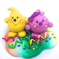 HAPPY NEW YEAR Celebration Parker &amp; Lolly - Polymer Clay StoryBook Scene Sculpted Figurine