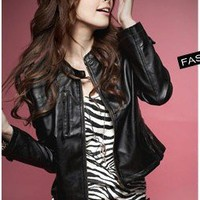 Wholesale Super Cool Design Leather Jacket Black