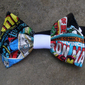 retro Marvel Comic Books hair headband or Bow Tie Baby photo prop from PoppysWickedGarden