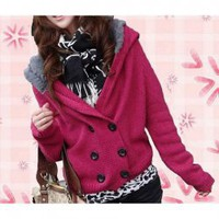 Chic and Casual V-Neck Double-Breasted Long Sleeves Woolen Yarn Cardigan Hooded Sweater For Women China Wholesale - Sammydress.com