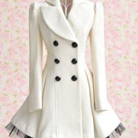 new fashion women white long-sleeved coat, wool coat dress