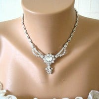 Vintage Rhinestone Necklace, Bridal, Wedding, Art Deco Style